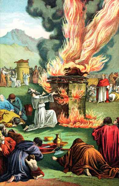 The prophet Elijah on Mount Carmel; the fire of the LORD fell and consumed the burnt sacrifice